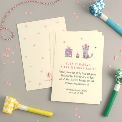 Personalised Cat Birthday Invitations