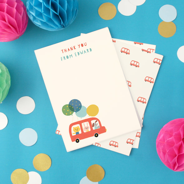 Personalised children's thank you cards with bus design