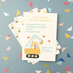 Personalised children's birthday invitations with digger illustration