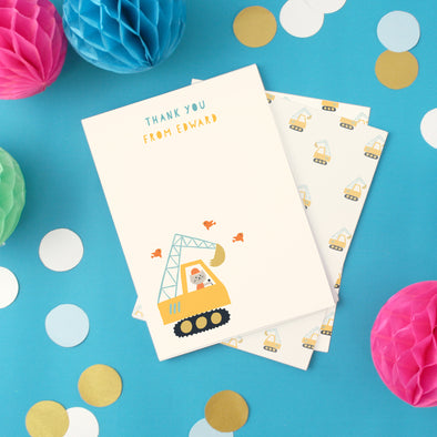 Personalised children's thank you cards with digger design