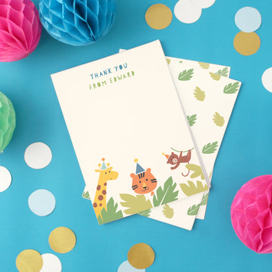 Personalised children's thank you cards with jungle design