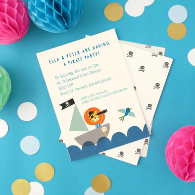 children's party invitations with lion pirate illustrations