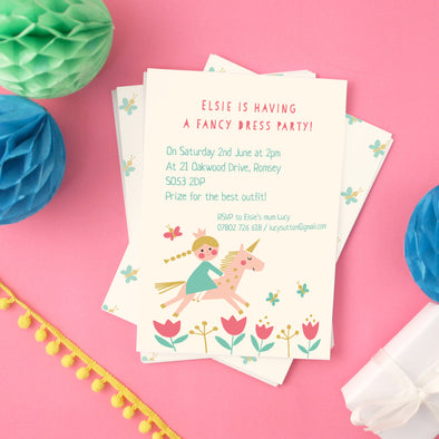 Princess party invitations with personalised text