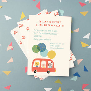 personalised children's birthday invitations with bus and animals illustration