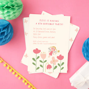 Girls party invitations with flower fairy design