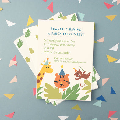personalised children's party invitations with jungle animals