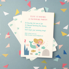 personalised mermaid illustration party invitations