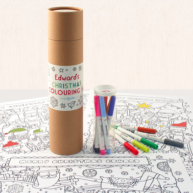 Personalised Children's Christmas Colouring Set With Felt Tip Pens