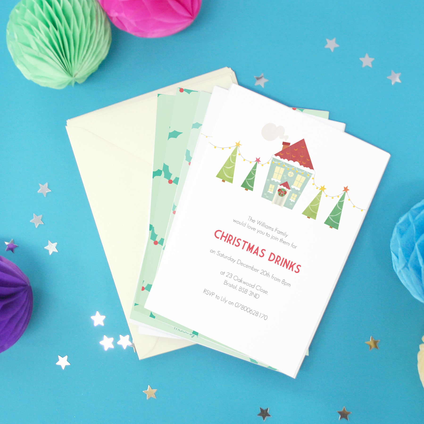 Personalised Christmas Party Invitations With Envelopes Madebyellis