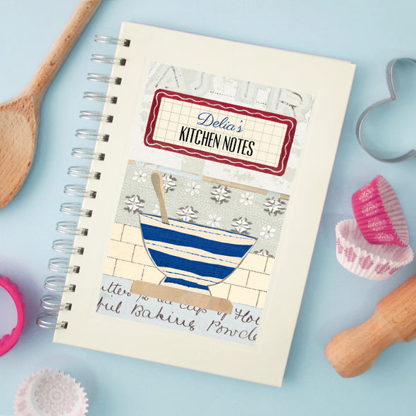 Personalised Mixing Bowl Cook's Wire Bound Recipe Notebook