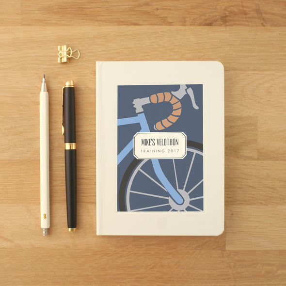 Cycling notes personalised hardback notebook with bike illustration