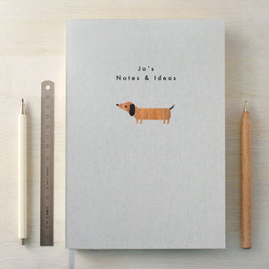 Personalised Dachshund A5 Cloth Bound Notebook