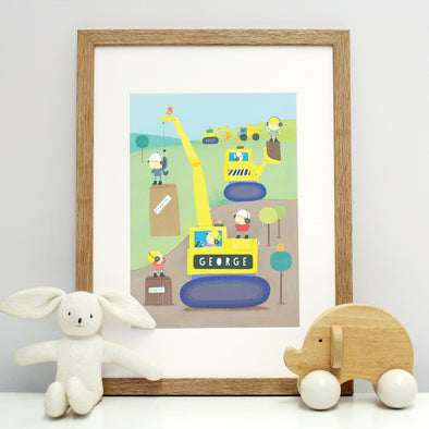 Digger print for children with child's name