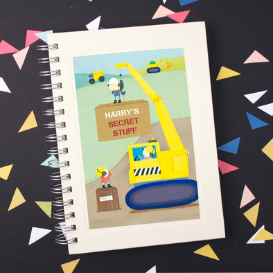 Personalised children's digger notebook
