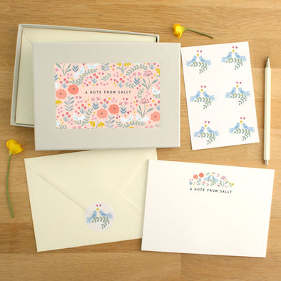 Personalised Dove Pattern Writing Set