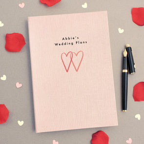 Personalised Engagement A5 Cloth Bound Notebook Line Hearts