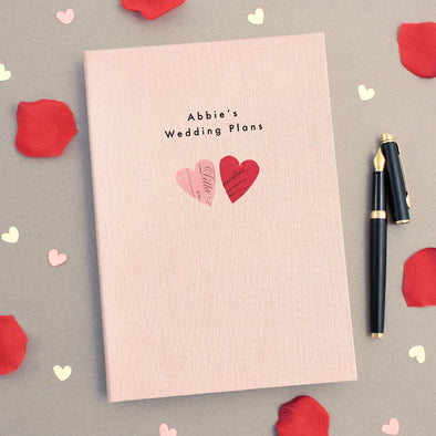 Personalised Engagement A5 Cloth Bound Notebook Vintage Hearts