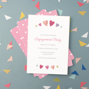 Engagement party invitations with personalised text