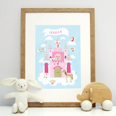 fairy castle print for children with personalisation