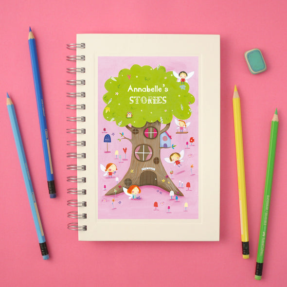 Personalised Fairy Tree Wire Bound Lined Children's Notebook