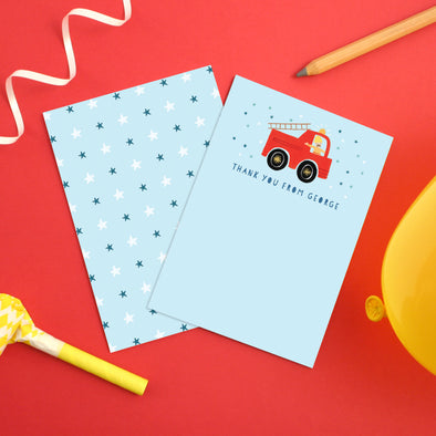 Personalised Fire Engine Children's Thank You Cards