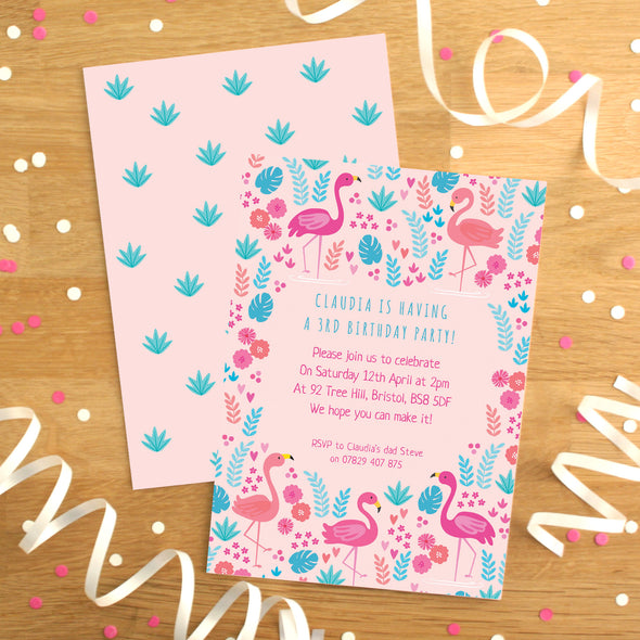 Personalised Flamingo Pattern Birthday Invitations