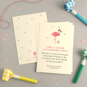 Personalised Flamingo Birthday Invitations