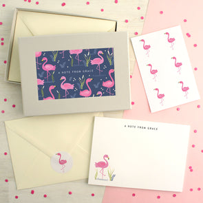 Personalised Flamingo Pattern Writing Set