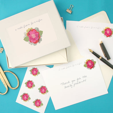personalised writing set with flower illustration
