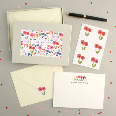 Personalised Flower Pattern Writing Set