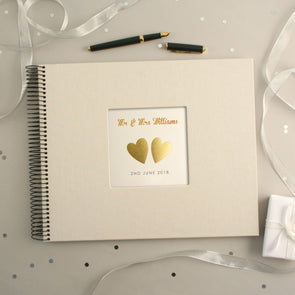 Personalised Hand Foiled Gold Hearts Wedding Guest Book