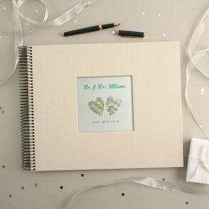 Personalised Hand Foiled Iridescent Hearts Wedding Guest Book