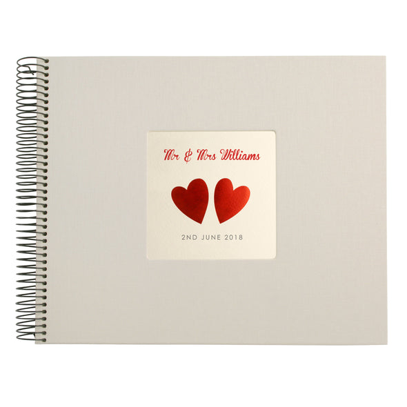 Personalised Hand Foiled Red Hearts Wedding Guest Book