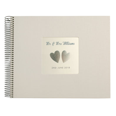 Personalised Hand Foiled Silver Hearts Wedding Guest Book