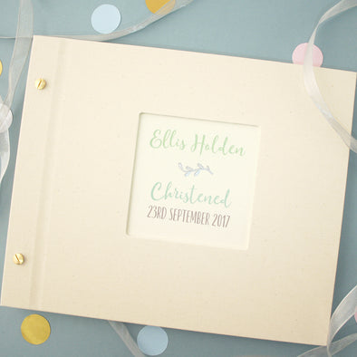 Personalised Silver Leaf Christening Photo Album with Turquoise Text