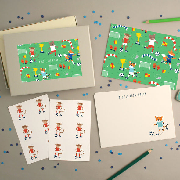 Personalised Football Pattern Writing Set