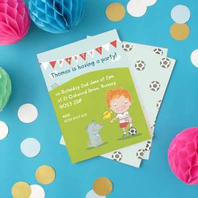 Personalised Football Birthday Party Invitations