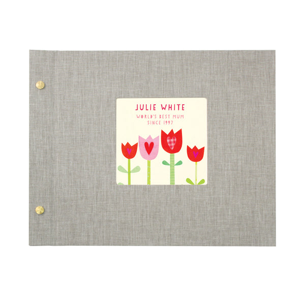 Personalised Mother's Day Cloth Bound Photo Album With Tulips Design