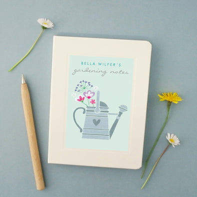 Personalised gardeners notebook with watering can design