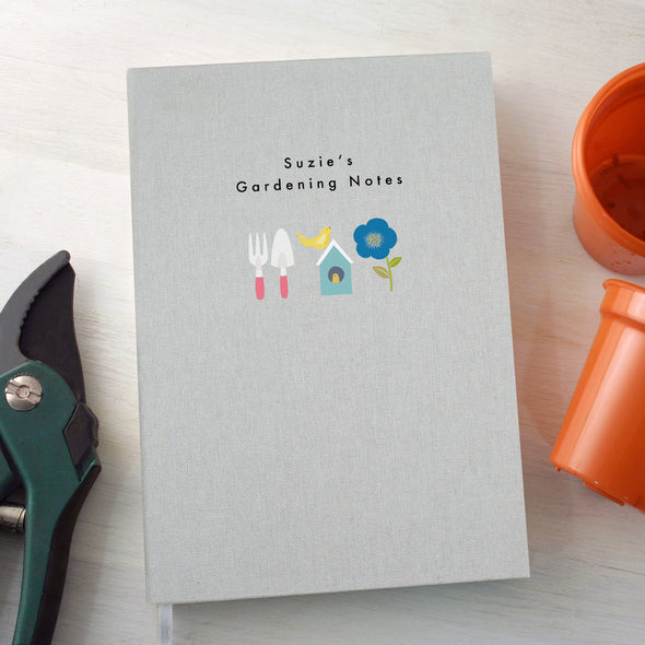 Personalised Gardening A5 Cloth Bound Notebook with Birdhouse