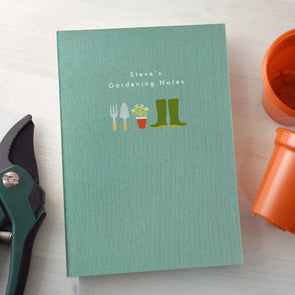 Personalised Gardening A5 Cloth Bound Notebook with Wellington Boots