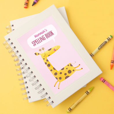 Personalised children's notebook with giraffe design
