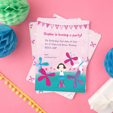 Personalised Butterfly and Girl Party Invitations