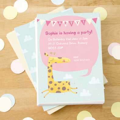 Personalised children's party invitations with giraffe illustration