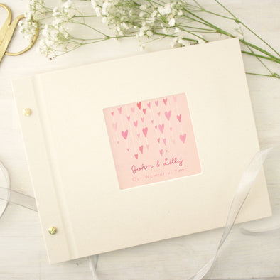 Personalised love hearts photo album with glitter and box