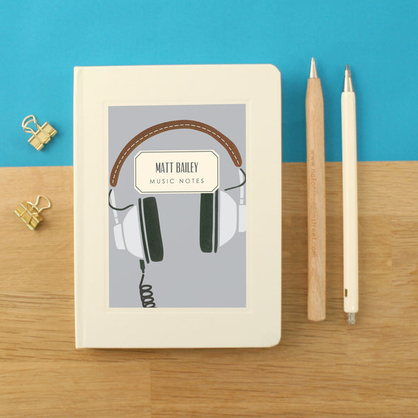 Personalised Headphones Hardback Lined Music Notebook