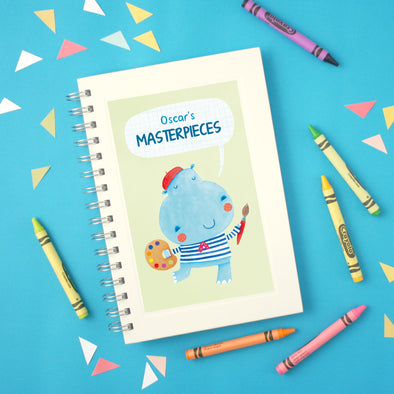 personalised children's drawing book with hippo artist illustration