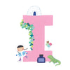 Personalised Illustrated Alphabet Letter I Children's Notebook