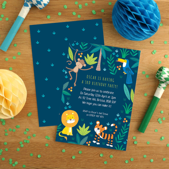 Personalised Jungle Pattern Birthday Invitations