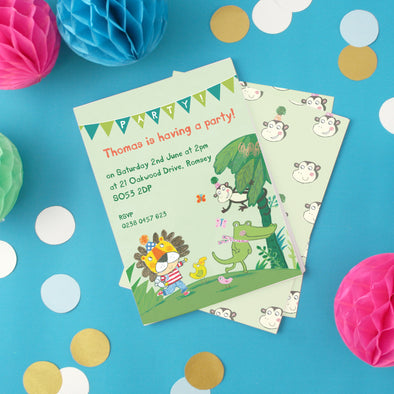 Personalised Jungle Themed Children's Party Invitations